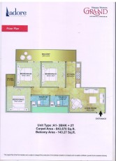 3 Bhk (643 SQ.FT with Balcony 143 SQ.FT)